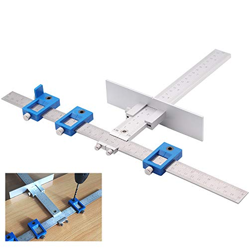 YIZRIO Cabinet Hardware Jig for Handles and Knobs Drawer Guide Jig on Doors and Drawer Fronts,Fastest and Most Accurate Knob & Pull Jig Improve for inch (Jig Handle)