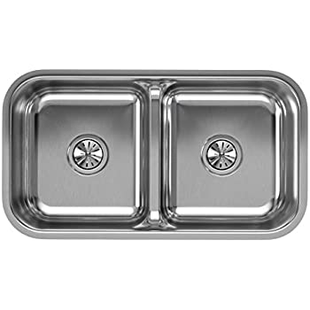 Marvelous Elkay Lustertone EAQDUH3118 Equal Double Bowl Undermount Stainless Steel  Sink With Aqua Divide