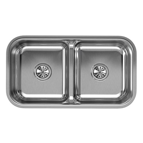 Elkay Lustertone EAQDUH3118 Equal Double Bowl Undermount Stainless Steel Sink with Aqua (Elkay Lustertone Double Bowl Sink)