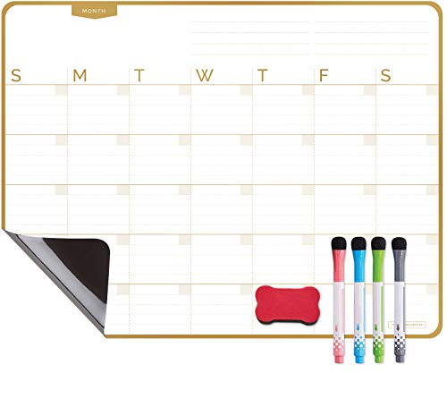 Magnetic Dry Erase Calendar Board for Refrigerator with Stain Resistant Technology - 4 Fine Tip Markers & Eraser with Magnets - 17 x 13