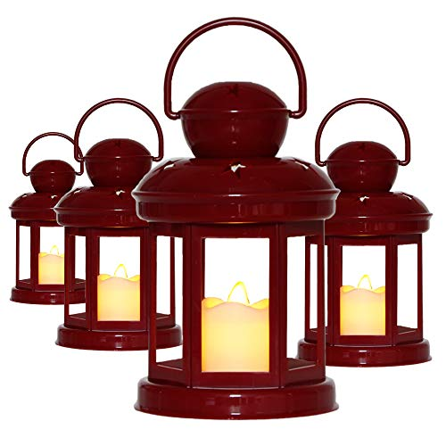Decorative Red Candle Lanterns Soft Flickering LED Light Wedding Lanterns Home Decor Lanterns -7.5
