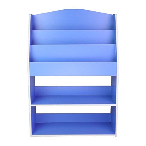 Hot Sale Magshion Children Kids Bookcase Toy Storage Bookshelf Wooden Organizer Blue