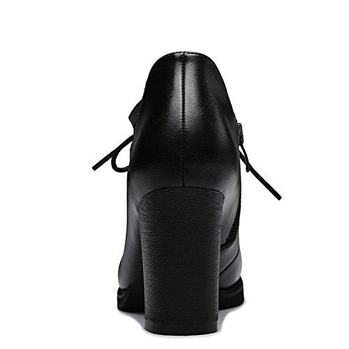 KHSKX-Ein Schuh Der Frühling Und Herbst Neue Imprägnierung Damenschuhe Runden Kopf Und Frauen Kleine Lederschuhe Englisch Kurz black