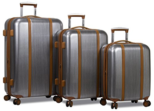Dejuno Monroe 3-Piece Hardside Spinner Tsa Combination Lock Luggage Set, Silver by Dejuno