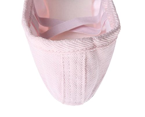 Feoya Chaussons de Yoga/Danse Classique en Toile avec Fleur pour Fille Femme Chaussure de Danse Ballet Ballerine - Rose - FR 34