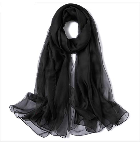 Solid Color Linen Silk Scarf,Super Large Fashion Scarf,Can Be Used as Shawl,Beach Scarf and Wrap-Black