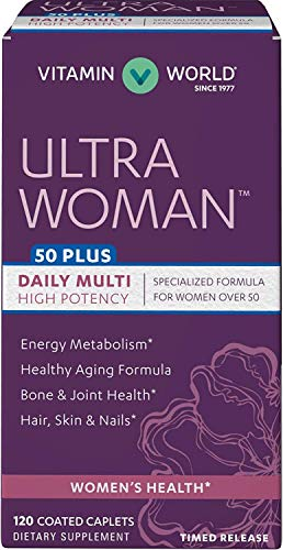 55 Active Multivitamin Plus - Vitamin World Ultra Woman 50 Plus Daily Multivitamins 120 Caplets, Vitamins for Seniors, High Potency, Timed-Release, Gluten Free