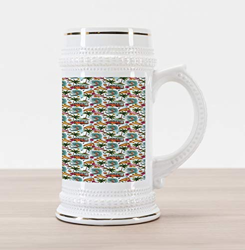 Lunarable Surf Beer Stein Mug, Sixties Style Van Surfboards and Palm Trees Pattern Colorful Tropical Summer Holiday, Traditional Style Decorative Printed Ceramic Large Beer Mug Stein, Multicolor (Tree Pattern Palm)