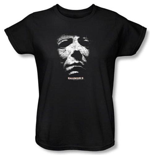 Halloween II Ladies T-shirt Movie Michael Myers Black Tee Shirt, (Halloween Laurie Strode)