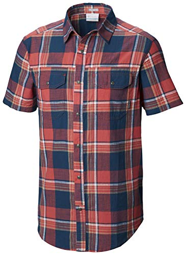 Columbia Men's Leadville Ridge Yarn Dye Short Sleeve Shirt, Mountain red Big Check L