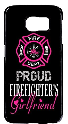Cell World LLC - Firefighter Fireman Proud Girlfriend in Pink Black Case Cover Hard Rubber Black Case Cover Compatible with Samsung Galaxy Note 10 + Plus (6.8 Inch 2019 Model) (Best Nhl Fighters 2019)