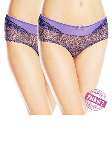 Paramour by Felina Women's 2 Pair Set Sweet Revenge Lace Hipster Lingerie Panties (2XL / 9, 2 Pack - Violet Cheeta)
