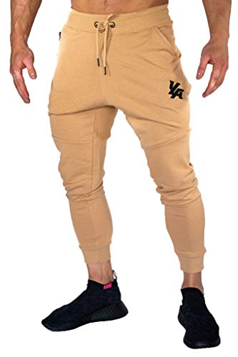 YoungLA Jogger Pants for Men Slim Fit Workout Sports Activewear Gym 202 Camel Medium