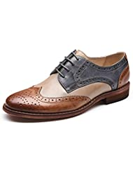 U-lite Womens Perforated Lace-up Wingtip Multicolor Leather Flat Oxfords Vintage Oxford Shoes