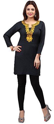 Kurti Top Tunic Women's Embroidered Blouse India Clothing (Black/Yellow, - Blouse India Clothing