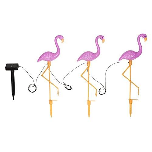 Sunnylife Solar Powered Garden Lights - Set of 3 LED Flamingo Lights - Flamingo Pink ()