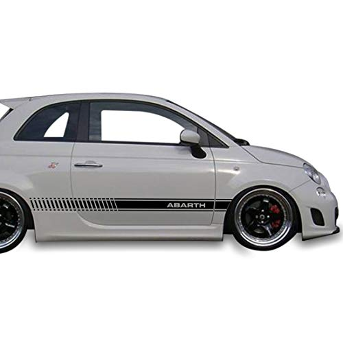 2x Decal Sticker Vinyl Side Racing Stripes Compatible with Fiat 500 Abarth Fiat Hatchback Coupe