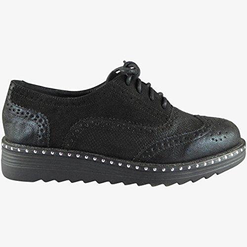 8 Ferse schwarz flache niedrige Größe bequeme Damen lässig Damen Schuhe Slipper 3 Studs schnüren Brogue xwHqTA
