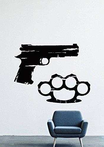 Wall Decals Decor Vinyl Gun Brass Knuckles Weapon Army Gang ()