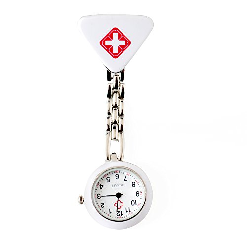 BOSHIYA Nurse Pocket Watch Women Steel Crystal Paramedic Tunic Brooch Doctor Nurse Cosplay Dress Accessories White