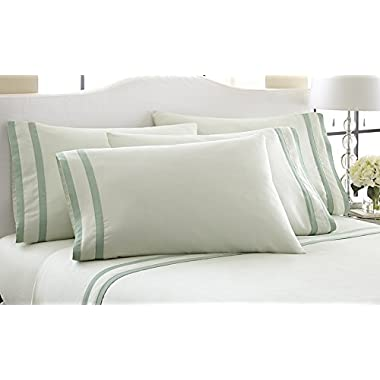 1000 Thread Count 6-Piece Sheet Set With Double Satin Band Soft Jade/Dark Jade Queen
