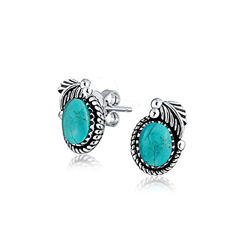 Bali Style Enhanced Turquoise Gemstone Round Bezel Leaf Rope Edged Stud Earrings For Women Oxidized 925 Sterling Silver