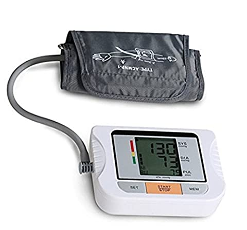 Automatic Upper Arm Digital Blood Pressure Monitor with Soft Adjustable Cuff, Large Screen Display Accurate Electronic BP Machine Portable for Home - Automatic Arm