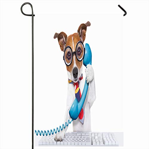 Ahawoso Seasonal Garden Flag 12x18 Inches Joke Operator Jack Russell Dog On Call Keyboard Center Phone Funny Telephone Humor Design Laptop Home Decorative Outdoor Double Sided House Yard Sign