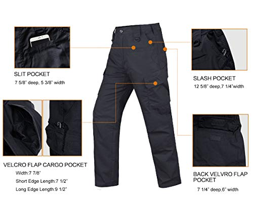 HARD LAND Men's Tactical Pants Waterproof Ripstop Cargo Work Pants with Elastic Waist for Hiking Hunting Fishing Size44W×32L Charcoal Grey by HARD LAND (Image #6)