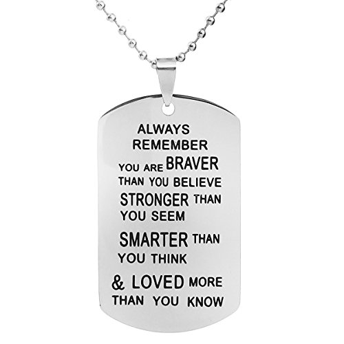 ALoveSoul Inspirational Gift Necklace - Always Remember You are Braver Than You Believe Pendant Necklaces Breast Cancer Dog Tag