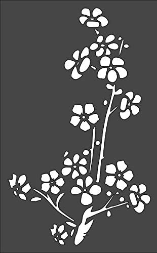 reusable DIY craft stencils for painting Tree Branch with Flowers Cherry Blossom Custom Stencil