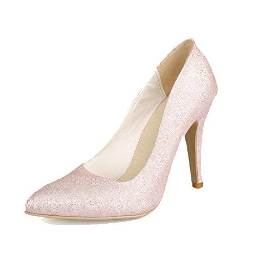 Amoonyfashion Donna Pull-on Materiali Compositi Punta A Punta Tacchi Alti Pompe-scarpe Tinta Unita Rosa