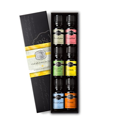 Clean Set of 6 Premium Grade Fragrance Oils - Fresh Cotton, Lemon, Orange, Grapefruit, Fresh Cut Grass, Eucalyptus - 10ml
