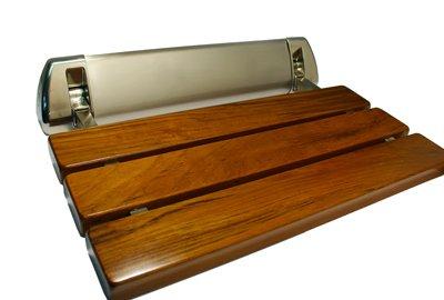 LADA LD3 Folding Wall-mount Fold-up Teak Wood Shower Seat Bench Brushed Nickel
