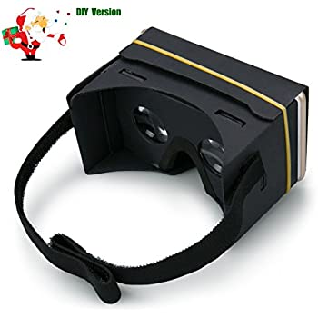 Google Cardboard, Gvoo 3D VR Virtual Reality Glasses V2 with Head Strap Nose Pad and Big Lens for Android and Apple Devices Up to 6 Inch DIY Kit - Black