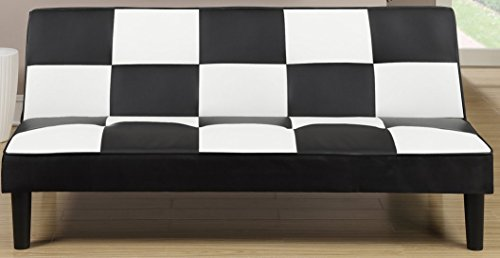 Faux Leather Microfiber Sofa (Poundex Modern Faux Leather Adjustable Futon, Black/White)