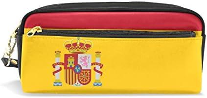 imobaby スペイン国旗 ポータブルポーチ PUレザー スクールペンケース 文房具 鉛筆バッグ 防水 化粧バッグ メイクアップ ビューティーケース