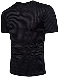Mens V-Neck T Shirts Casual Slim Fit Soft Cotton Short Sleeve Premium Tee Top