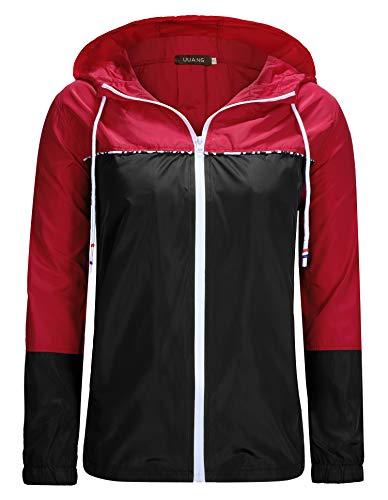 UUANG Women's Lightweight Waterproof Packable Rain Jacket Hooded Girls Raincoat Outdoor Colorblock Windbreaker for Traveling, Cycling, Hiking (Red/Black, Medium)