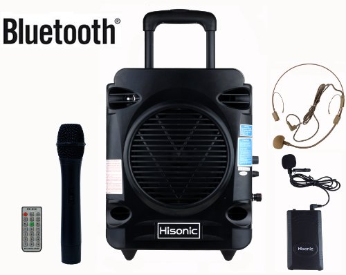 Rechargeable Pa System - Hisonic HS700 True RMS 35 Watts Rechargeable & Portable PA System with Built-in VHF Wireless Microphones, Bluetooth Connected with Cellphone,Pad,Music Player/Recorder & FM Radio, Color Black