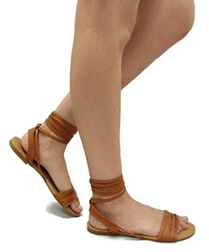 Spirit Moda Olivia-18 Over Toe Strap Sandals Wrap Around Womens Lace-Up Casual Roman Strappy, Tan, 8