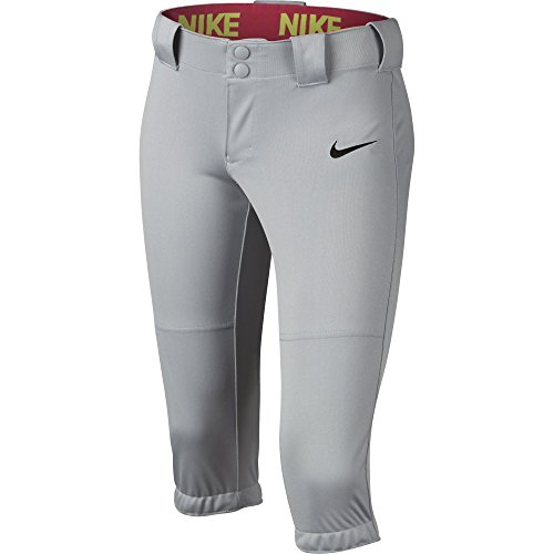 NIKE Girls' Diamond Invader 3/4 Pants, Wolf Grey/Black, Small