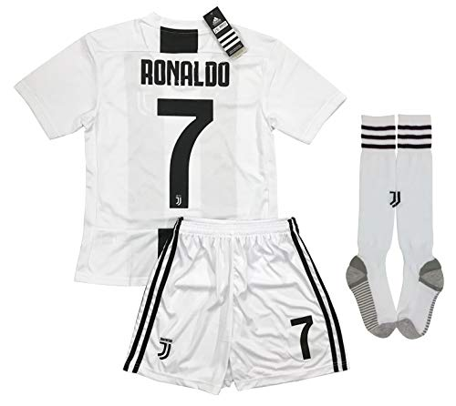 LiveSport New 2018-2019 Ronaldo #7 Juventus Home Jersey Shorts and Socks for Kids & Youths (9-10 Years Old)