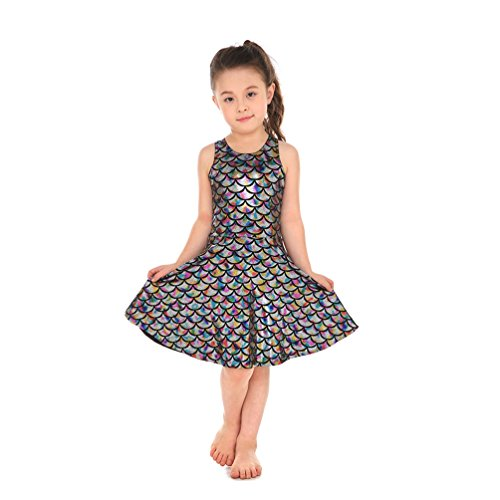 (Lesubuy Multicoloured Fish Skater Girl's Mermaid Scales Dress Shiny Small)