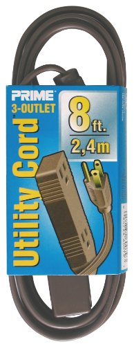 Prime Wire & Cable EC850608 8-Foot 16/3 SPT-2 3-Outlet Utility Indoor Cord, (Brown Electric Inc)