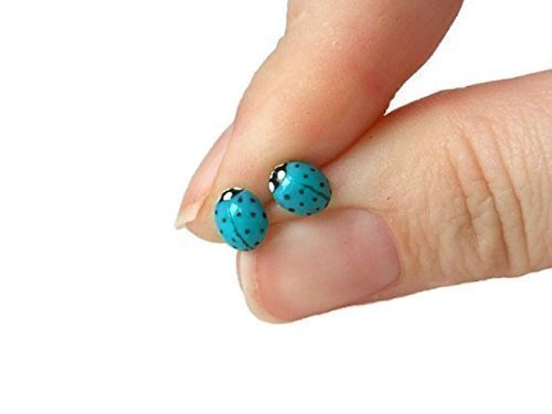 Good Luck Egg - Blue Ladybug Stud Earrings on Sterling Silver Posts for Sensitive Ears by Gabrielle & Co.