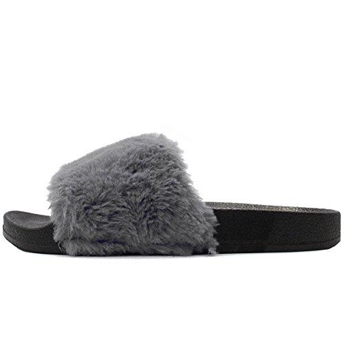 LAVRA Womens Faux Fur Slide Slip Sandals Gray (Without Shoe Box) UJRtd