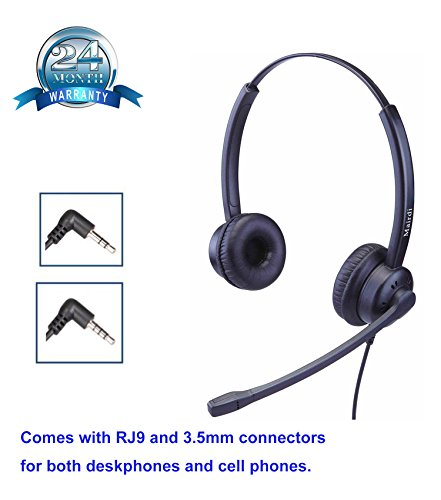 Cellular 2.5 Mm Jack (Phone Headset With 2.5mm Jack Dual Ear with Noise Cancelling Mic Compatible with Jabra Cisco Polycom Panasonic Plus 3.5mm Connector for Cell Phone Apple iPhone Samsung)