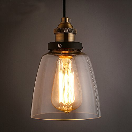 WINSOON 5.5 X 9.5 Inch Design Vintage Industrial Ceiling Lamp Clear Glass pendant lighting for kitchen island Loft Shade Fixture