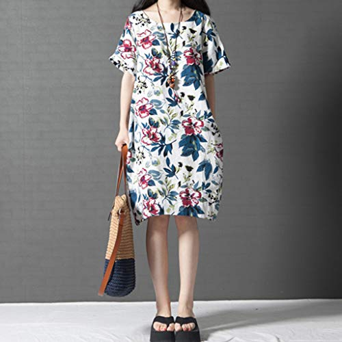 PASATO M-5XL Plus Size Women's Casual Short Sleeve O-Neck Floral Print Cotton Dress With Pockets T-Shirt Dress(White,M=US:S) by PASATO Dress (Image #5)